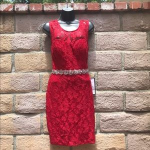 *NWT* Sz 13- Red lace dress w/ sequined belt